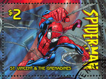 Spiderman. ST. VINCENT GRENADINES - CIRCA 2003: stamp printed by St. Vincent Grenadines, shows Spiderman, circa 2003 royalty free stock images