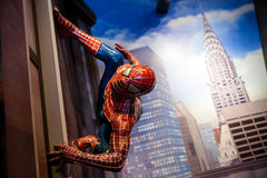 Spiderman-Wundercomics in Museum Madame Tussauds Wax in Amsterdam, die Niederlande Stockfotografie