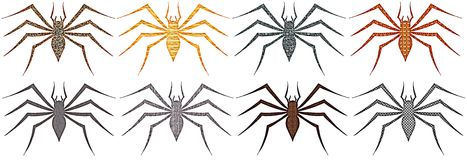 Set of colorful artistic isolated spiders Royalty Free Stock Photo