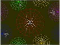 The spiders climbing on the colorful cobwebs in the night stock illustration