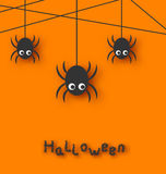 Spiders and Cobweb for Halloween. Illustration Cute Funny Spiders and Cobweb for Halloween, Simple style with Shadows - Vector Stock Image