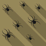 Spiders flat background. Royalty Free Stock Images