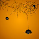 Spiders. Halloween background. The spider weaves a web stock illustration