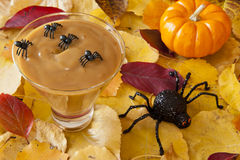 Spiders with Halloween Pudding Royalty Free Stock Image