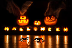 Spiders with Halloween pumpkins stock photo