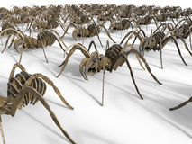 Spiders marching. 3D rendered illustration of a multiple marching spiders. The composition is  on a white background with strong shadows Royalty Free Stock Photos