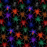 Spiders Pattern Colorful Tarantulas on Balck Background stock illustration