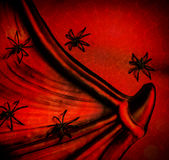 Spiders on red Halloween background. Collar of Dracula, spiderweb texture, scary postcard, festive backdrop Royalty Free Stock Photography