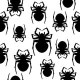 Spiders. Seamless black and white background. Royalty Free Stock Photo