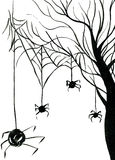 Spiders on tree. Art freehand watercolor sketch outline illustration of black halloween holiday scary spiders on web hanging on bare tree on white background Royalty Free Stock Image