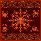 Spiders -  vector set. Designs and elements for. Tshirt Royalty Free Stock Photo