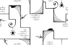 Spiders Wall Abstract Texture. Spider webs old wall abstract, seamless vector texture pattern, horizontal, black and white Stock Photo