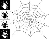 Spiders and web. Cobweb spider on a white background. Silhouettes of spiders on a black and white background. Black-and-white illustration Stock Image