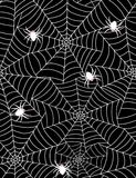 Spiders in web. Seamless pattern on black background Royalty Free Stock Photos