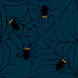 Spiders on web. Seamless pattern Stock Images