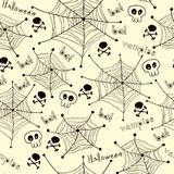 Spiders on Webs pattern on white background Royalty Free Stock Photography