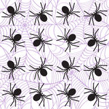 Spiders on webs seamless pattern Royalty Free Stock Photo