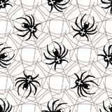 Spiders on Webs seamless pattern. On white background Royalty Free Stock Images