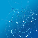 Spiderweb. Vector illustration of a spiderwen with dewdrops against blue background Stock Photo