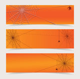 Spiderweb headers vector. Orange headers with spider and web vector set illustration Stock Images