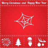 Spiderweb Icon Vector. And bonus symbol for New Year - Santa Claus, Christmas Tree, Firework, Balls on deer antlers Stock Photo