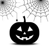 Spiderweb and pumpkin Royalty Free Stock Photo