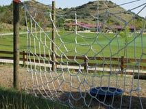 Spiderweb rope recreation net. Rope spiderweb exercise net at adventure tower in regional park Stock Photo