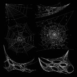 Spiderweb or spider web cobweb on wall corner vector isolated icons Stock Images
