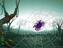 A spiderweb in the woods. Illustration of a spiderweb in the woods stock illustration