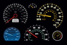 Spidometer 2. Set of vector speedometer and counter Stock Photography