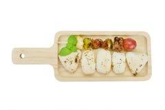 Spießen Sie Fleisch und Gemüse mit gegrilltem Reis, Beschneidungspfad auf Lizenzfreies Stockfoto