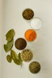Spieces e ervas em vidros pequenos imagens de stock