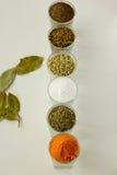 Spieces e ervas em vidros pequenos Fotografia de Stock
