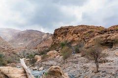 Spieczony riverbed dzwonił wadiego w Azja, w obrzeżach muszkat, Oman zdjęcie royalty free