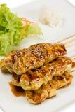 Spiedi arrostiti del pollo Fotografie Stock