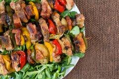 Spiedi arrostiti della carne su un piatto Fotografia Stock