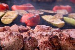 Spiedi arrostiti di kebab di carne e delle verdure fotografie stock libere da diritti