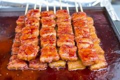 Spiedi caldi e piccanti del porco Fotografie Stock