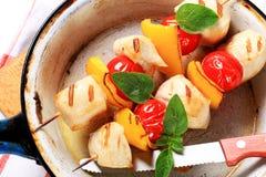 Spiedi cotti del pollo Fotografie Stock