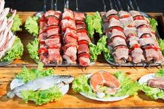 Spiedi degli shishkebabs e del pesce crudo per la griglia immagini stock libere da diritti