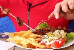 Spiedi dell'agnello in un ristorante marocchino Fotografia Stock