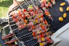 Spiedi di carne e delle verdure sul barbecue Fotografia Stock
