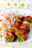 Spiedi fritti con riso Immagine Stock Libera da Diritti