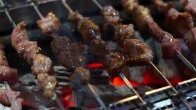 Spiedo della carne sulla griglia video d archivio