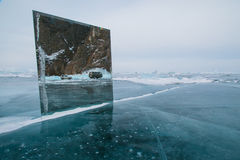 Spiegel auf reinem Eis Stockbild