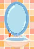 Spiegel in een badkamers Stock Afbeelding