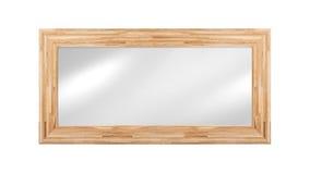 Spiegel im Holzrahmen - lokalisiert auf Weiß lizenzfreie stockfotografie