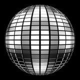 Spiegel-Kugel der Disco-3D auf schwarzem Hintergrund Stockfotos