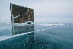 Spiegel op zuiver ijs stock afbeelding