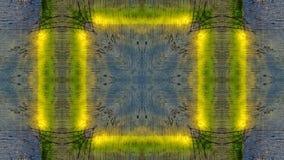 Spiegeleffect op een blauwe houten raad met gele lijnen royalty-vrije illustratie